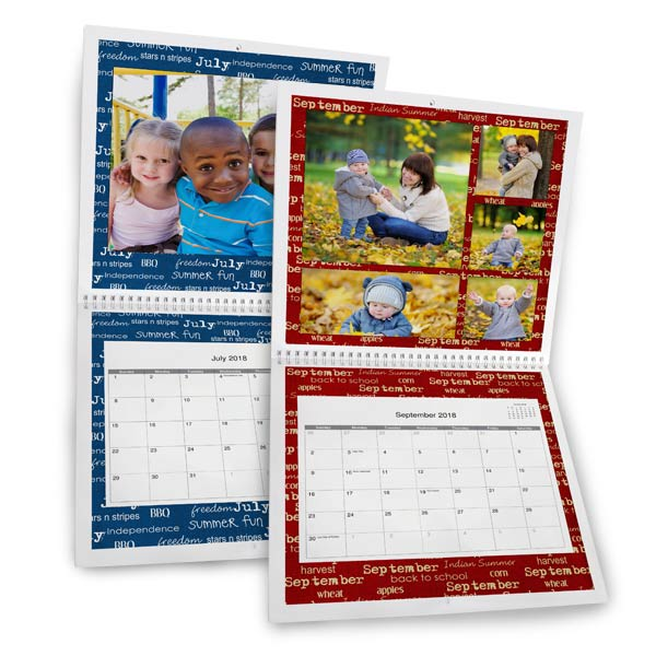 Create a personalized spiral bound calendar for 2018 with RitzPix 12x12 Calendars
