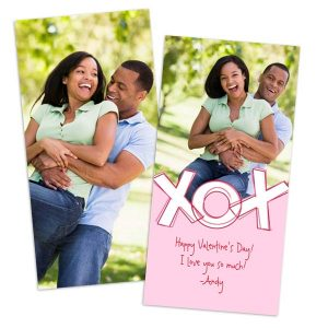 Customize the front and back of your 4x8 valentines day photo card with RitzPix