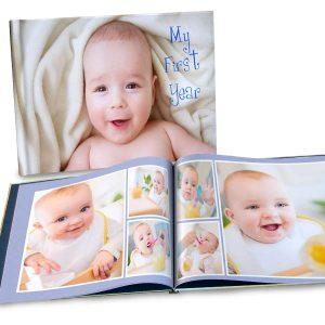 Create a classic size 8x11 photo book with personalized glossy cover