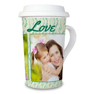 Create your own latte mug with lid using pictures and custom text
