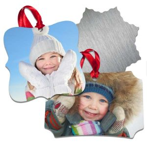 Aluminum photo ornaments are available in 4 different shapes and include a ribbon for hanging