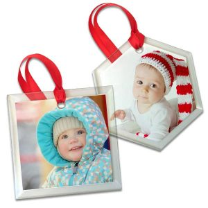 Create a unique photo ornament display on your tree with glass ornaments from Print Shop Lab