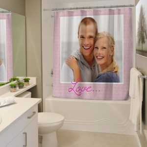 Create your own shower curtain and brighten up your bathroom with a funny photo or smiling faces of loved ones