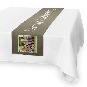 Decorate for you with a photo personalized table runner perfect for any season