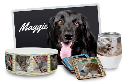 Create personalized products featuring pictures of your pet.