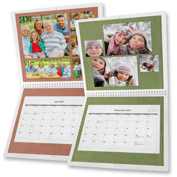 Create a personalized spiral bound calendar for 2021 with RitzPix 12x12 Calendars