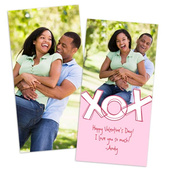 Add a photo and create personalized 2 sided Valentines Cards