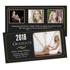 Custom RitzPix graduation announcements printed on quality 4x8 stock card paper