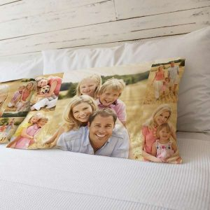 Create custom pillow cases with smiling faces with Print Shop Lab Photo Collage Pillow Cases