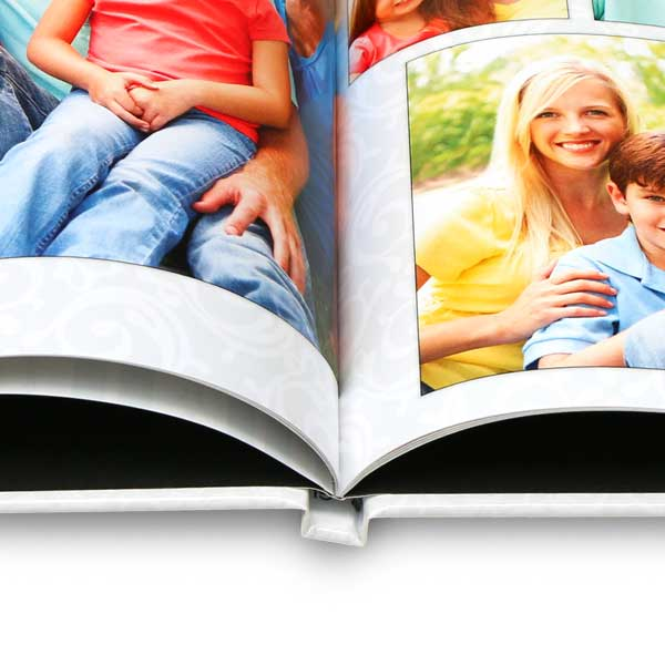 Create a large coffee table photo book with professionally bound pages