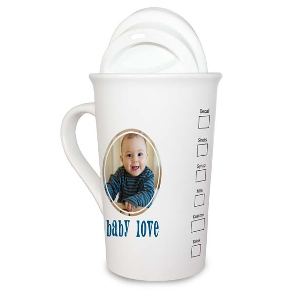Coffee house style photo latte mug is perfect for any coffee lover and resembles popular coffee house art