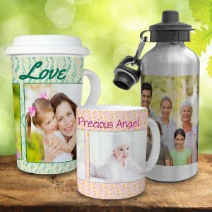 Personalize your own mug or water bottle with your favorite photos to brighten your daily routine.