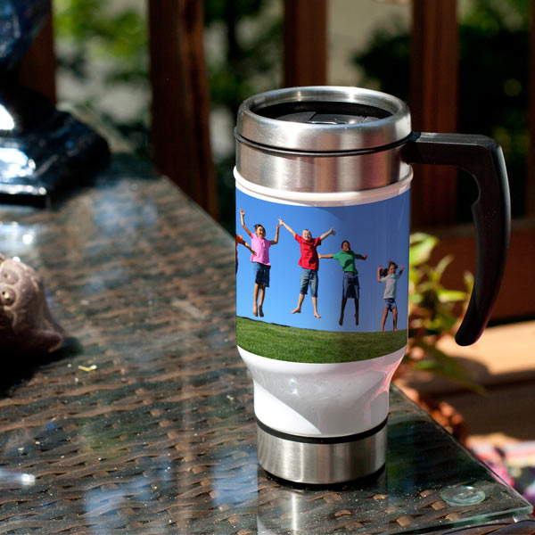 Custom Travel mugs are great for business, or simply just add a photo to your mug and enjoy