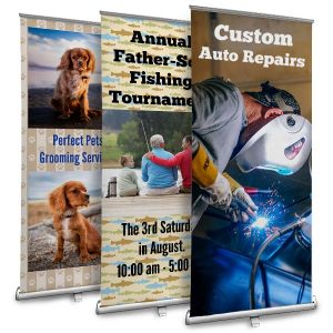 Customize your own stand up retractable banner for your small business