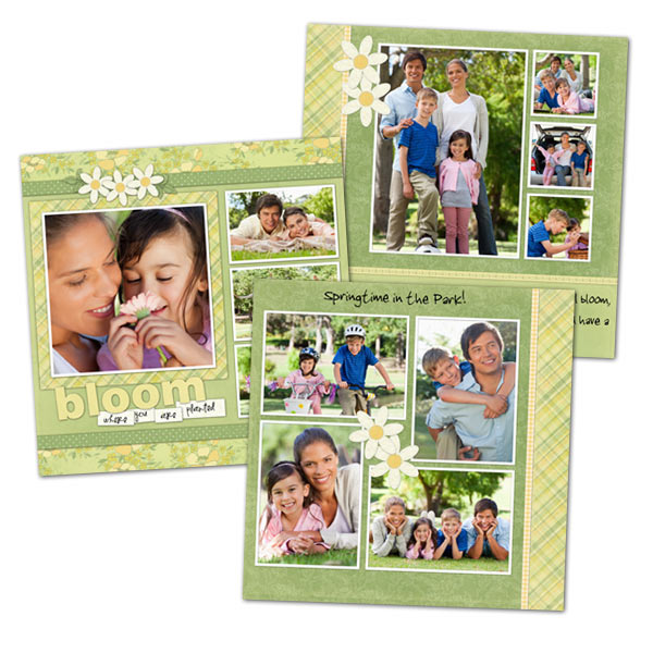 Create beautiful scrapbook prints using our templates, 5x5 prints fit any 5x5 scrapbook