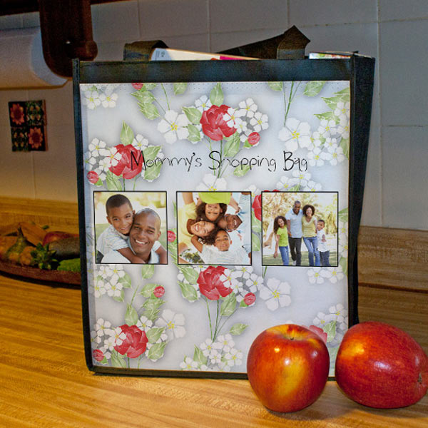 Choose from many designer patterns and add your own photos to create your own custom grocery bag.