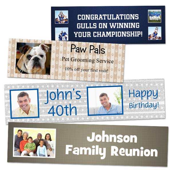 Create your own custom paper banner with photos and text, perfect for parties