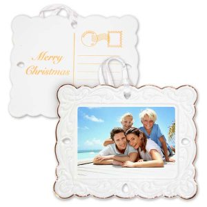 Add a vintage touch to your holiday décor this year with our postcard photo ornament.