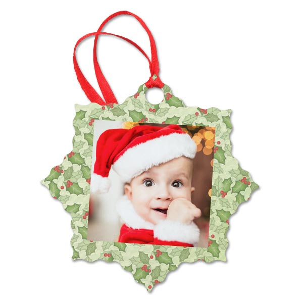 Choose one of our many designer backgrounds to add flare to your aluminum photo ornament