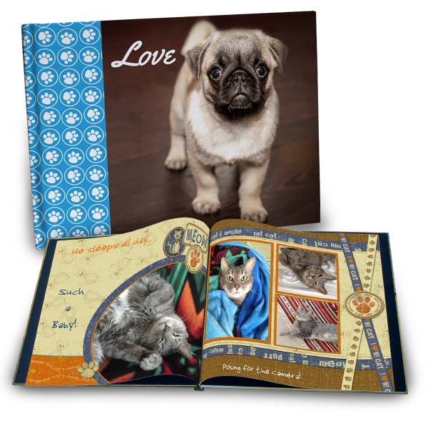 Build your own pet photo album with pictures of your furry friend. A dog memory photo book for your family would make a priceless gift.