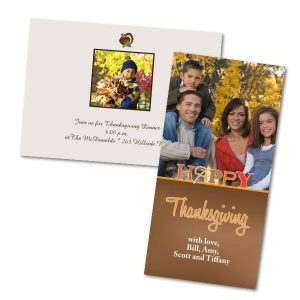 Send a Thanksgiving invitation or wish your family the best on Thanksgiving with a personalized card