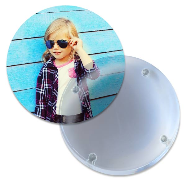 Paperweight doubles as a magnifying reader for your desk, just remove the photo on the back