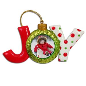 Create a beautiful holiday photo ornament featuring the text JOY