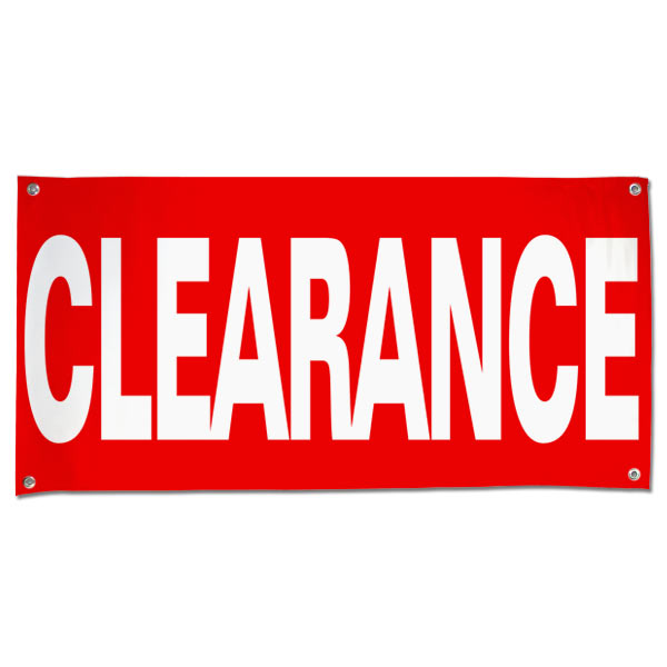 Order a custom pre-printed clearance banner size 4x2
