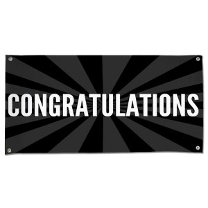 Celebrate in style with a Congratulations starburst banner black 4x2