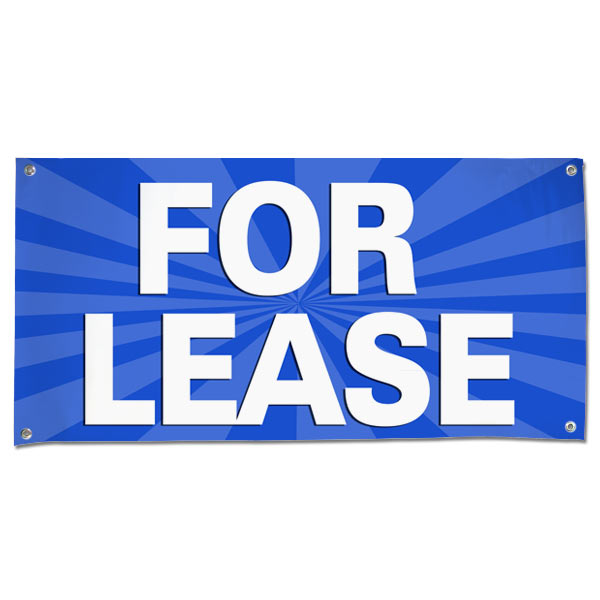 Lease your space and announce it to all with an easy to read banner blue For Lease Banner size 4x2