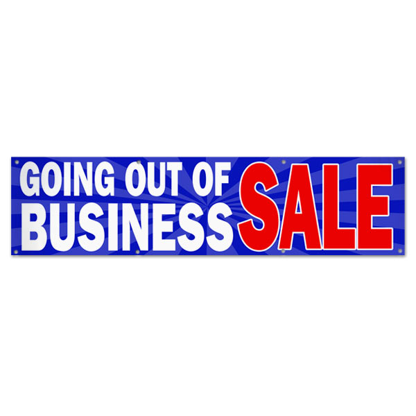 Sell your stuff with Blue Starburst Going out of Business sale banner size 8x2