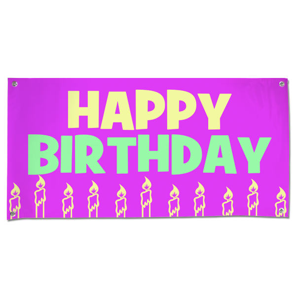 Perfect banner for little girls, decorate your party with a pink candle happy birthday banner size 4x2