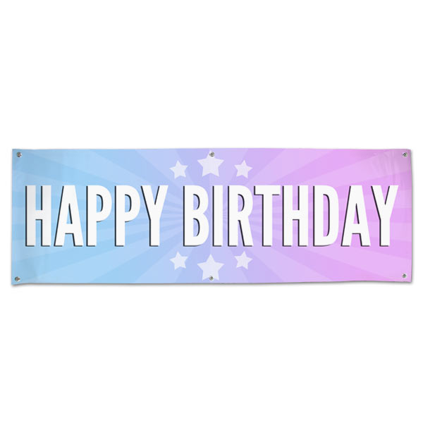 Celebrate your next birthday party and decorate in style with a bright Happy Birthday starburst banner size 6x2
