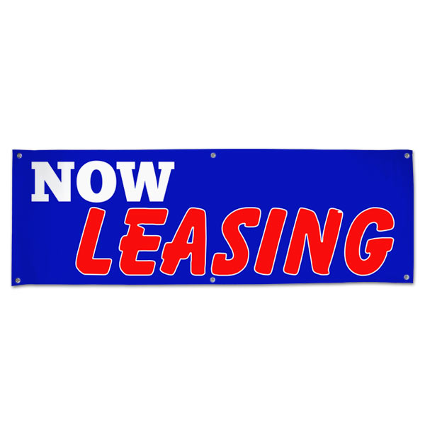 Perfect for real estate, lease your space and get the word seen with this 6x2 blue Now Leasing banner