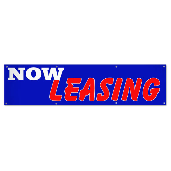 Perfect for real estate, lease your space and get the word seen with this 8x2 blue Now Leasing banner