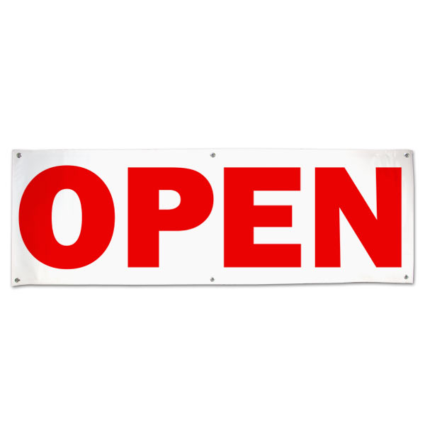 Let the public know you are open for business with this red text Open Banner size 6x2