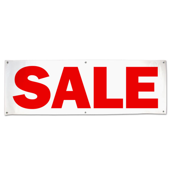 Perfect for a road side business, this indoor outdoor banner announces your Sale message large 6x2
