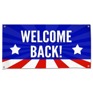 Wish someone a warm welcome with a patriotic American Flag Welcome Back Banner size 4x2