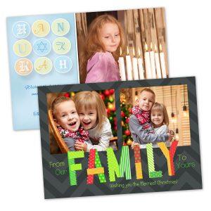 RitzPix 5x7 Holiday season greeting cards for Christmas and Hanukkah