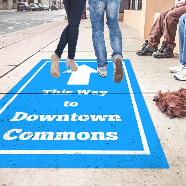 Create custom outdoor graphics for sidewalks, streets, or shopping centers