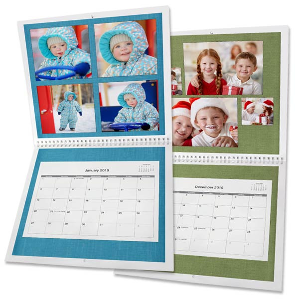 Create a personalized spiral bound calendar for 2019 with RitzPix 12x12 Calendars