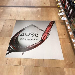 Floor graphic ads and marketing banners for shop floor and walk area