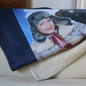 Get cozy with a heavy weight custom sherpa blanket and keep warm with a memory