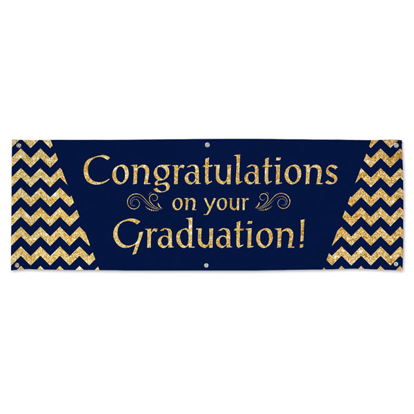 Congratulations on your Graduation navy blue and sparkling gold vinyl banner for your graduate