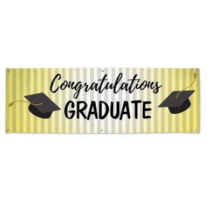 Classic black cap on gold Congratulations graduate banner for your graduation party