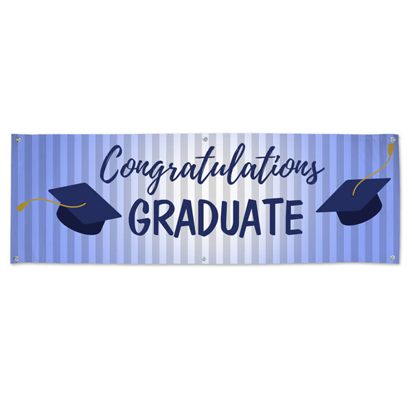 For your Graduating student, blue themed Congratulations banner for their party or event