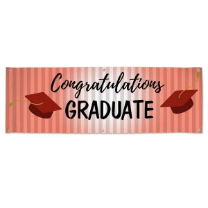 Throw a red themed graduation party with a Red Congratulations banner