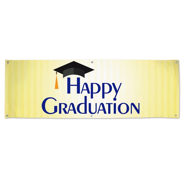 Bright and Happy Graduation banner for your Graduation Party and event