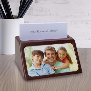 Add a photo and or custom text and create your own personalized business card holder