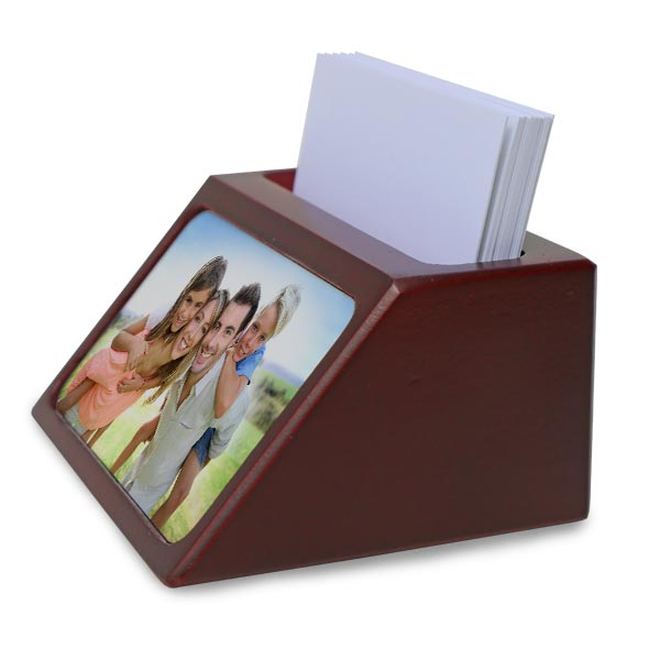 Beautifully display your business cards in a custom holder with a photo on it